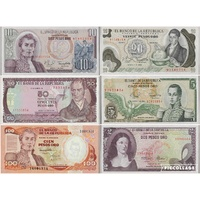 Colombia, Set of 6 banknotes in Unc grade (1977-1986)