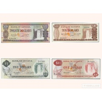 Guyana, Set of 4 banknotes in Unc grade (1989)