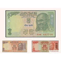 India, Set of 3 'Gandhi' banknotes in Unc grade (1996-2002)