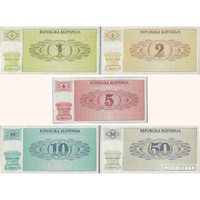 Slovenia, Set of 5 banknotes in Unc grade (1990)