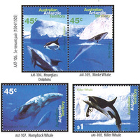 AAT STAMPS 1995 WHALES & DOLPHINS SET OF 4