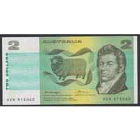 Australian Two Dollar $2 Paper Note Knight/Wheeler OCR-B Side R86c 1977 Uncirculated