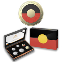 Australia 2021 6-Coin Proof Year Set Aboriginal Flag W/ A Unique $2 Coloured Coin
