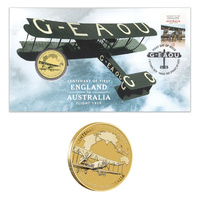 Australia 2019 Cent. First Flight England to Australia Stamp & $1 UNC Coin Cover - PNC