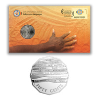 Australia 2019 International Year of Indigenous Language Stamp & 50c Coin Cover - PNC