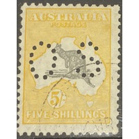 "Australia S/multi wmk 5/- Grey & Yellow-Orange ""Perf OS"" (SG0118/ BW45Awb) CTO"