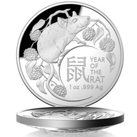 Australia 2020 Lunar Year of The Rat $5 1oz Fine Silver Proof Domed Coin RAM